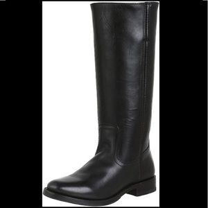 FRYE Black Leather Pull On Riding Boots